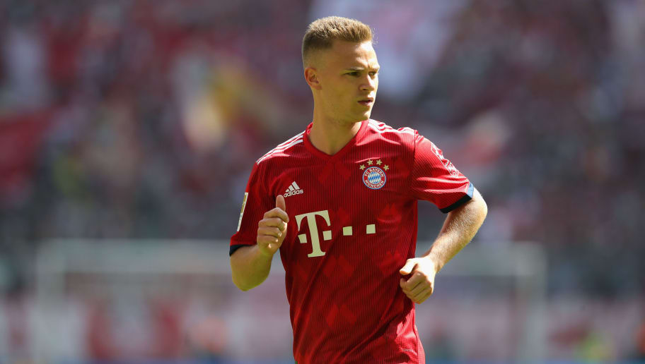 MUNICH, GERMANY - MAY 12:  Joshua Kimmich of FC Bayern Muenchen runs with the ball during the Bundesliga match between FC Bayern Muenchen and VfB Stuttgart at Allianz Arena on May 12, 2018 in Munich, Germany.  (Photo by Alexander Hassenstein/Bongarts/Getty Images)