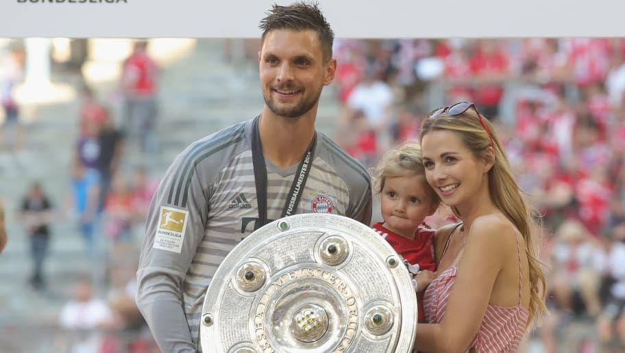 MUNICH, GERMANY - MAY 12:  Sven Ulreich of Bayern Muenchen celebrates with family after the Bundesliga match between FC Bayern Muenchen and VfB Stuttgart at Allianz Arena on May 12, 2018 in Munich, Germany.  (Photo by Alexander Hassenstein/Bongarts/Getty Images)