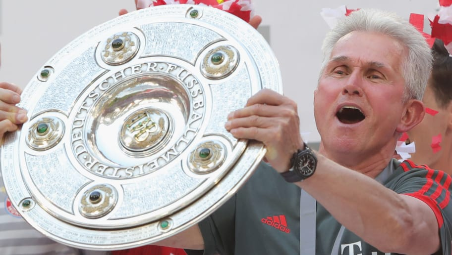 MUNICH, GERMANY - MAY 12:  Jupp Heynckes, head coach  of Bayern Muenchen lifts the trophy in Celebration for winning the German Championship title after the Bundesliga match between FC Bayern Muenchen and VfB Stuttgart at Allianz Arena on May 12, 2018 in Munich, Germany.  (Photo by Alexander Hassenstein/Bongarts/Getty Images)
