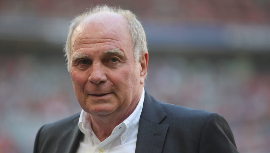 MUNICH, GERMANY - MAY 12:  Uli Hoeness, President of FC Bayern Muenchen looks on prior to the Bundesliga match between FC Bayern Muenchen and VfB Stuttgart at Allianz Arena on May 12, 2018 in Munich, Germany.  (Photo by Alexander Hassenstein/Bongarts/Getty Images)