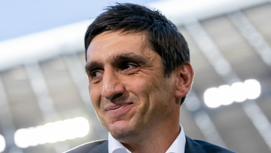 MUNICH, GERMANY - MAY 12: Head coach Tayfun Korkut of VfB Stuttgart looks on prior to the Bundesliga match between FC Bayern Muenchen and VfB Stuttgart at Allianz Arena on May 12, 2018 in Munich, Germany. (Photo by Boris Streubel/Getty Images)
