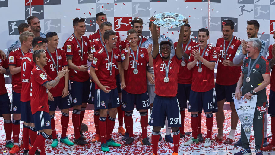 MUNICH, GERMANY - MAY 12: The team of FC Bayern Muenchen celebrates winning the championship after the Bundesliga match between FC Bayern Muenchen and VfB Stuttgart at Allianz Arena on May 12, 2018 in Munich, Germany. (Photo by TF-Images/Getty Images)