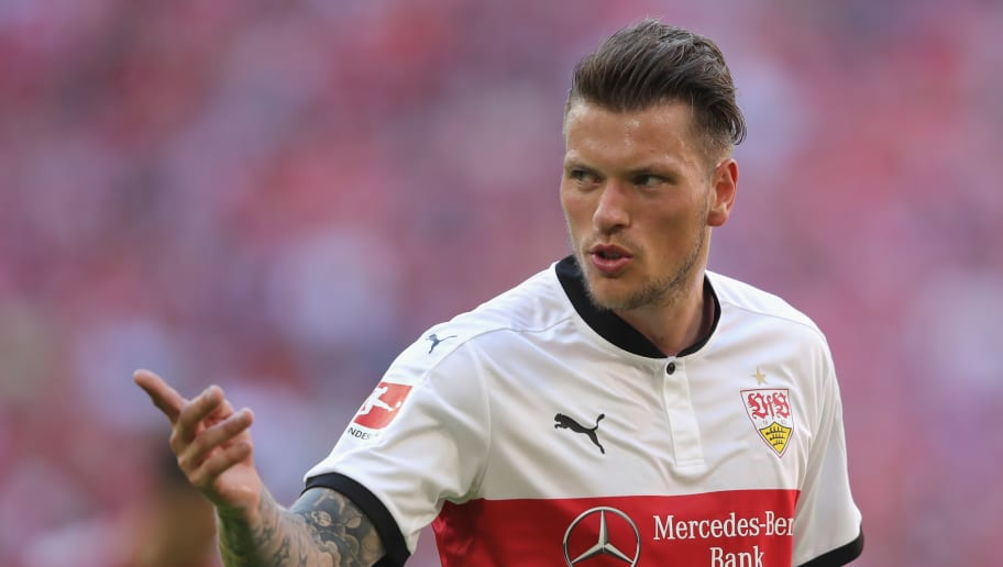 MUNICH, GERMANY - MAY 12:  Daniel Ginczek of Stuttgart reacts during the Bundesliga match between FC Bayern Muenchen and VfB Stuttgart at Allianz Arena on May 12, 2018 in Munich, Germany.  (Photo by Alexander Hassenstein/Bongarts/Getty Images)