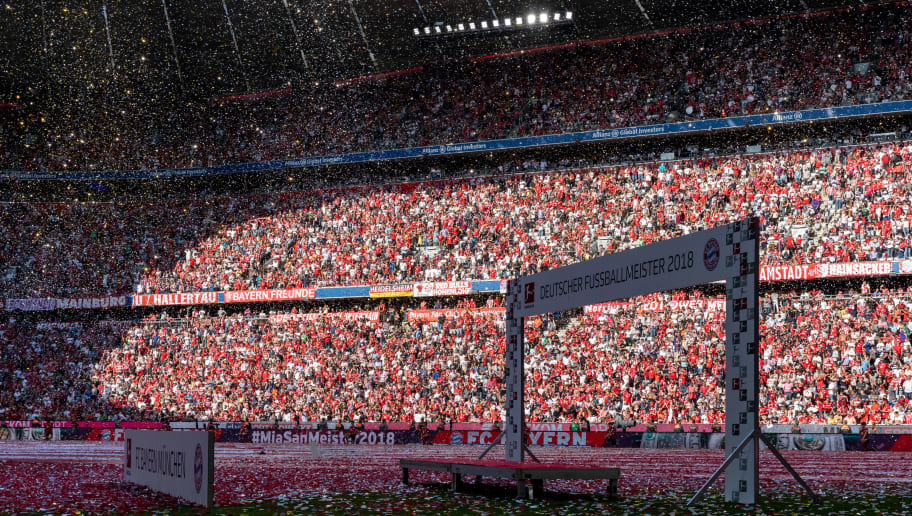 MUNICH, GERMANY - MAY 12: The winner arch is pictured to celebrate the 28th German football championship after the Bundesliga match between FC Bayern Muenchen and VfB Stuttgart at Allianz Arena on May 12, 2018 in Munich, Germany. (Photo by Boris Streubel/Getty Images)