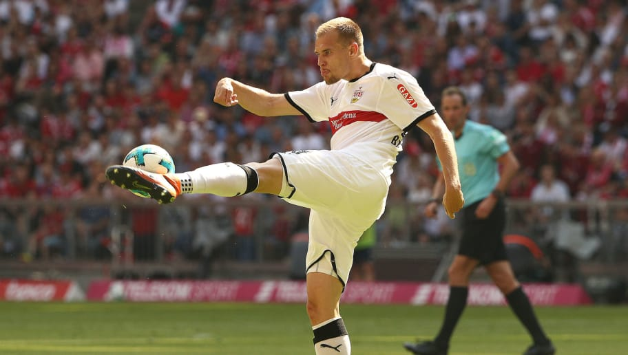 MUNICH, GERMANY - MAY 12: Holger Badstuber of Stuttgart plays the ball during the Bundesliga match between FC Bayern Muenchen and VfB Stuttgart at Allianz Arena on May 12, 2018 in Munich, Germany. (Photo by Adam Pretty/Bongarts/Getty Images)