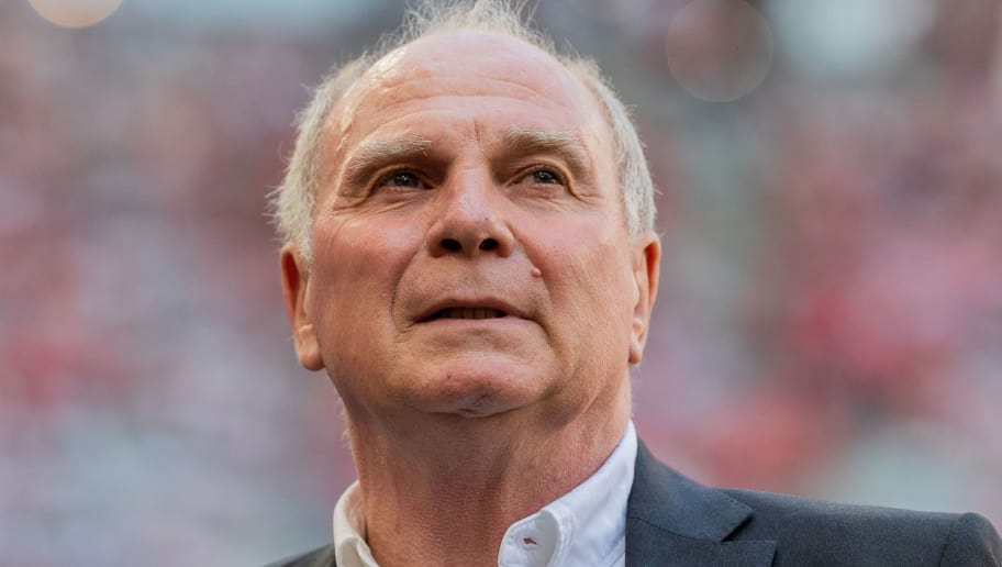 MUNICH, GERMANY - MAY 12: President of Bayern Muenchen, Uli Hoeness looks on prior to the Bundesliga match between FC Bayern Muenchen and VfB Stuttgart at Allianz Arena on May 12, 2018 in Munich, Germany. (Photo by Boris Streubel/Getty Images)