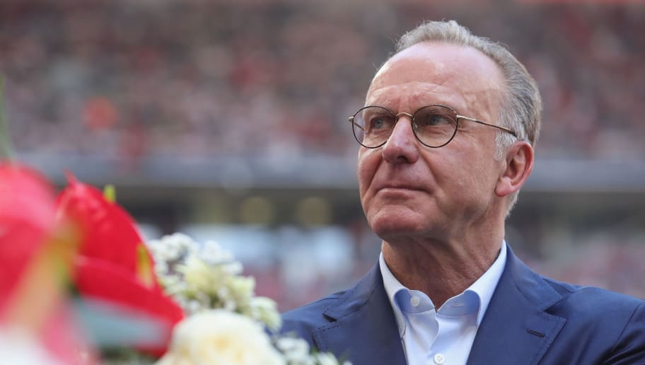 MUNICH, GERMANY - MAY 12:  Karl-Heinz Rummenigge, CEO of FC Bayern Muenchen looks on prior to the Bundesliga match between FC Bayern Muenchen and VfB Stuttgart at Allianz Arena on May 12, 2018 in Munich, Germany.  (Photo by Alexander Hassenstein/Bongarts/Getty Images)