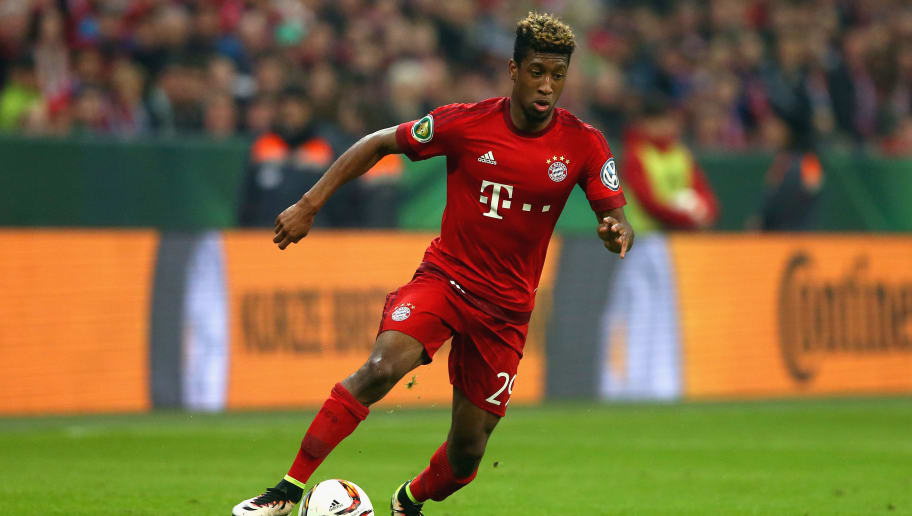 MUNICH, GERMANY - APRIL 19:  Kinglsey Coman of Muenchen runs with the ball during the DFB Cup semi finale match between FC Bayern Muenchen and Werder Bremen at Allianz Arena on April 19, 2016 in Munich, Germany.  (Photo by Alexander Hassenstein/Bongarts/Getty Images)