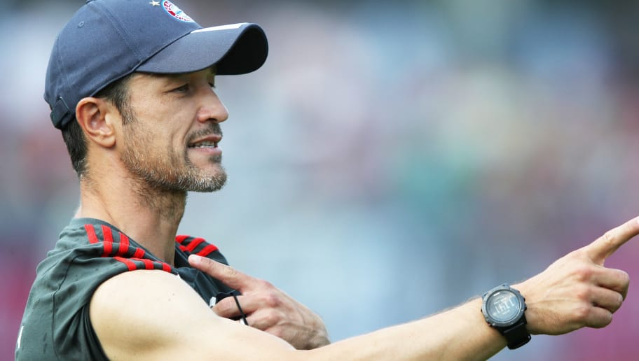 ROTTACH-EGERN, GERMANY - AUGUST 03:  Nico Kovac head coach of FC Bayern Munich in action during the FC Bayern Munich Training Camp on August 3, 2018 in Rottach-Egern, Germany.  (Photo by Adam Pretty/Bongarts/Getty Images)