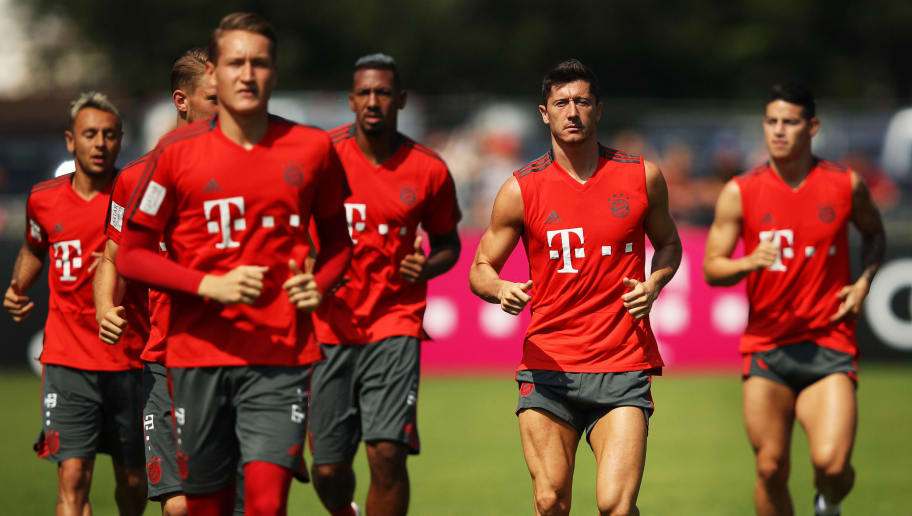 ROTTACH-EGERN, GERMANY - AUGUST 06:  Robert Lewandowski of Bayern Munich in action during the FC Bayern Munich Training Camp on August 6, 2018 in Rottach-Egern, Germany.  (Photo by Adam Pretty/Bongarts/Getty Images)
