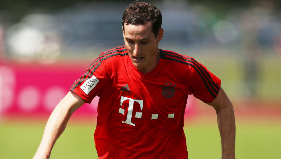 ROTTACH-EGERN, GERMANY - AUGUST 06:  Sebastian Rudy of Bayern Munich in action during the FC Bayern Munich Training Camp on August 6, 2018 in Rottach-Egern, Germany.  (Photo by Adam Pretty/Bongarts/Getty Images)
