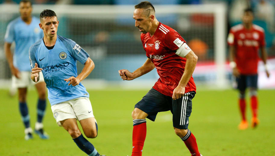 MIAMI, FL - JULY 28:  Franck Ribery #7 of Bayern Munich dribbles with the ball against Phil Foden #47 of Manchester City in the second half of the International Champions Cup at Hard Rock Stadium on July 28, 2018 in Miami, Florida.  (Photo by Michael Reaves/Getty Images)