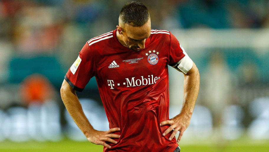 MIAMI, FL - JULY 28:  Franck Ribery #7 of Bayern Munich reacts against Manchester City in the second half of the International Champions Cup at Hard Rock Stadium on July 28, 2018 in Miami, Florida.  (Photo by Michael Reaves/Getty Images)