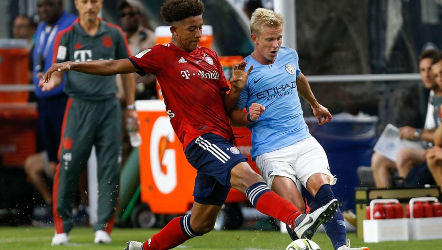 MIAMI, FL - JULY 28:  Chris Richards #34 of Bayern Munich defends Oleksandr Zinchenko #35 of Manchester City in the first half of the International Champions Cup at Hard Rock Stadium on July 28, 2018 in Miami, Florida.  (Photo by Michael Reaves/Getty Images)