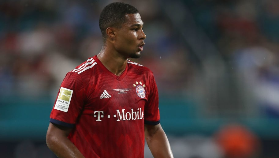 MIAMI, FL - JULY 28:  Serge Gnabry of FC Bayern Muenchen reacts during the International Champions Cup match between FC Bayern Muenchen and Manchester City at Hard Rock Stadium on July 28, 2018 in Miami, Florida.  (Photo by Alexandra Beier/Bongarts/Getty Images)
