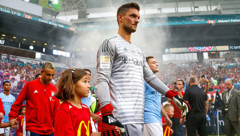 MIAMI, FL - JULY 28:  Sven Ulreich #26 of Bayern Munich takes the field prior to the match against Manchester City during the International Champions Cup at Hard Rock Stadium on July 28, 2018 in Miami, Florida.  (Photo by Michael Reaves/Getty Images)
