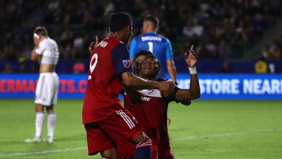 CARSON, CA - MAY 30:  Carlos Gruezo #7 of FC Dallas celebrates his goal with teammates Victor Ulloa #8 and Cristian Colman #9 in the second half during the MLS match against the Los Angeles Galaxy at StubHub Center on May 30, 2018 in Carson, California. FC Dallas defeated the Galaxy 3-2.  (Photo by Victor Decolongon/Getty Images)