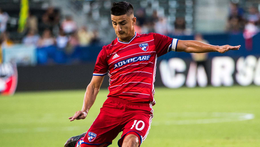CARSON, CA - AUGUST 10:  Mauro Diaz #10 of FC Dallas takes a shot during Los Angeles Galaxy's 2016 U.S Open Cup Semifinal match against FC Dallas at the StubHub Center on August 10, 2016 in Carson, California.  FC Dallas won the match 2-1 in overtime (Photo by Shaun Clark/Getty Images)