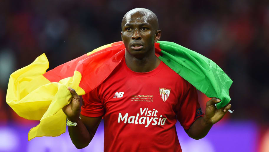 WARSAW, POLAND - MAY 27:  Stephane Mbia of Sevilla celebrates victory after the UEFA Europa League Final match between FC Dnipro Dnipropetrovsk and FC Sevilla on May 27, 2015 in Warsaw, Poland.  (Photo by Shaun Botterill/Getty Images)