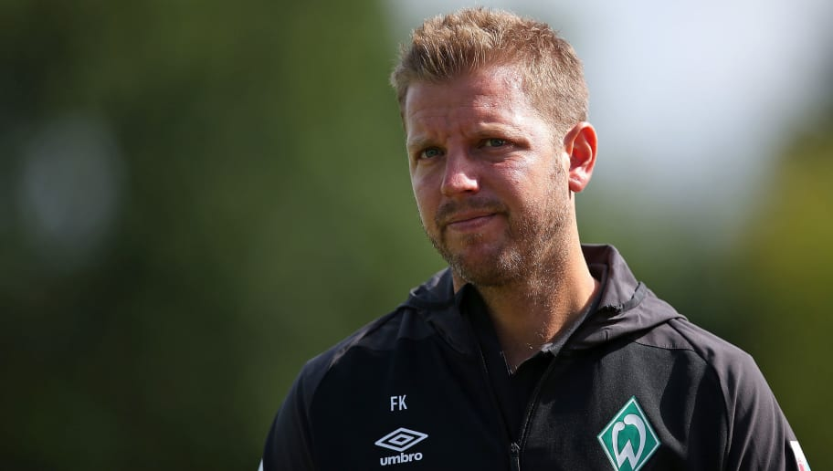 BREMERHAVEN, GERMANY - JULY 10: Head coach Florian Kohfeldt of Werder Bremen looks on during the friendly match between FC Eintracht Cuxhaven and Werder Bremen on July 10, 2018 in Cuxhaven, Germany. (Photo by TF-Images/Getty Images)
