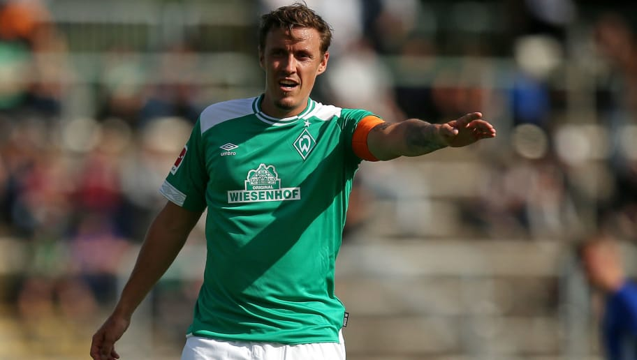 BREMERHAVEN, GERMANY - JULY 10: Max Kruse of Werder Bremen gestures during the friendly match between FC Eintracht Cuxhaven and Werder Bremen on July 10, 2018 in Cuxhaven, Germany. (Photo by TF-Images/Getty Images)
