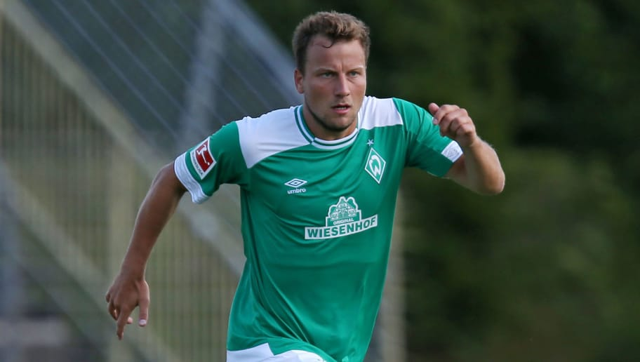 BREMERHAVEN, GERMANY - JULY 10: Philipp Bargfrede of Werder Bremen controls the ball during the friendly match between FC Eintracht Cuxhaven and Werder Bremen on July 10, 2018 in Cuxhaven, Germany. (Photo by TF-Images/Getty Images)