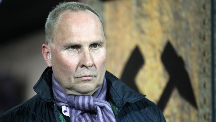 AUE, GERMANY - MARCH 19:  President Helge Leonhardt of Aue during the second Bundesliga match between FC Erzgebirge Aue and SpVgg Greuther Fuerth at Sparkassen-Erzgebirgsstadion on March 19, 2018 in Aue, Germany.  (Photo by Karina Hessland/Bongarts/Getty Images)