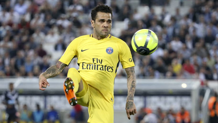 BORDEAUX, FRANCE - APRIL 22: Dani Alves aka Daniel Alves of PSG during the French Ligue 1 match between FC Girondins de Bordeaux and Paris Saint Germain (PSG) at Stade Matmut Atlantique on April 22, 2018 in Bordeaux, France. (Photo by Jean Catuffe/Getty Images)
