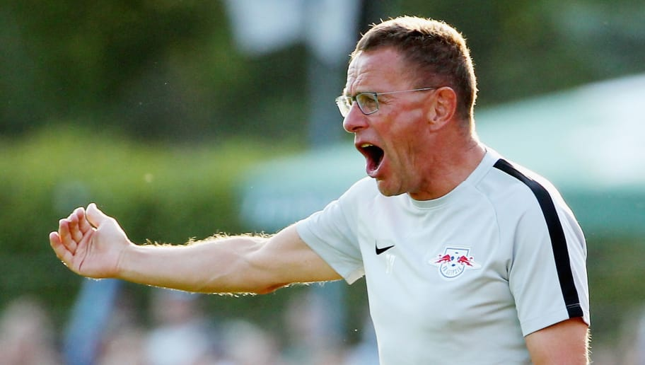 GRIMMA, GERMANY - JULY 20:  Headcoach Ralf Rangnick of Leipzig reacts during the Pre Season Friendly Match between FC Grimma and RB Leipzig at Stadium of friendship on July 20, 2018 in Grimma, Germany. (Photo by Karina Hessland-Wissel/Bongarts/Getty Images)