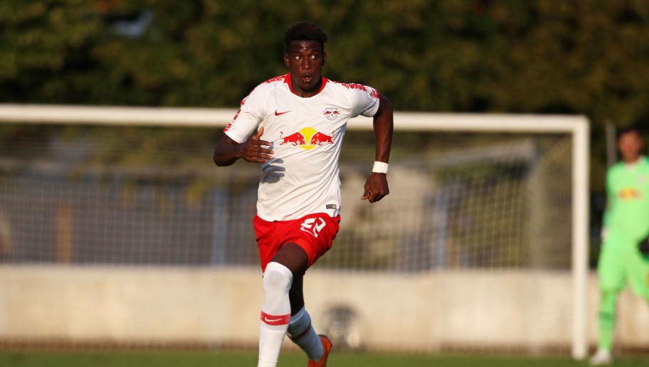 GRIMMA, SAXONY - JULY 20:  Nordi Mukiele of Leipzig during the Pre Season Friendly Match between FC Grimma and RB Leipzig at Stadium of friendship on July 20, 2018 in Grimma, Germany.  (Photo by Karina Hessland/Getty Images)