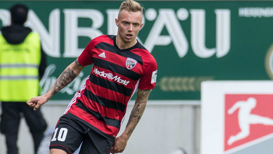 INGOLSTADT, GERMANY - APRIL 15: Sonny Kittel of Ingolstadt controls the ball during the Second Bundesliga match between FC Ingolstadt 04 and 1. FC Nuernberg at Audi Sportpark on April 15, 2018 in Ingolstadt, Germany. (Photo by TF-Images/Getty Images)