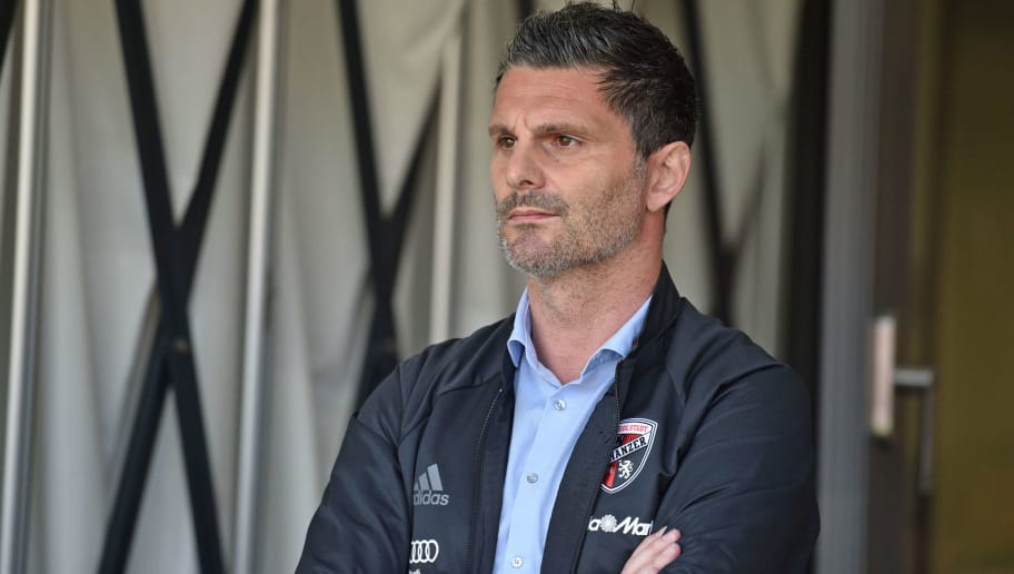 INGOLSTADT, GERMANY - APRIL 08: Sports director Angelo Vier of Ingolstadt looks on prior to the Second Bundesliga match between FC Ingolstadt 04 and DSC Arminia Bielefeld at Audi Sportpark on April 8, 2018 in Ingolstadt, Germany. (Photo by Thomas Starke/Bongarts/Getty Images)