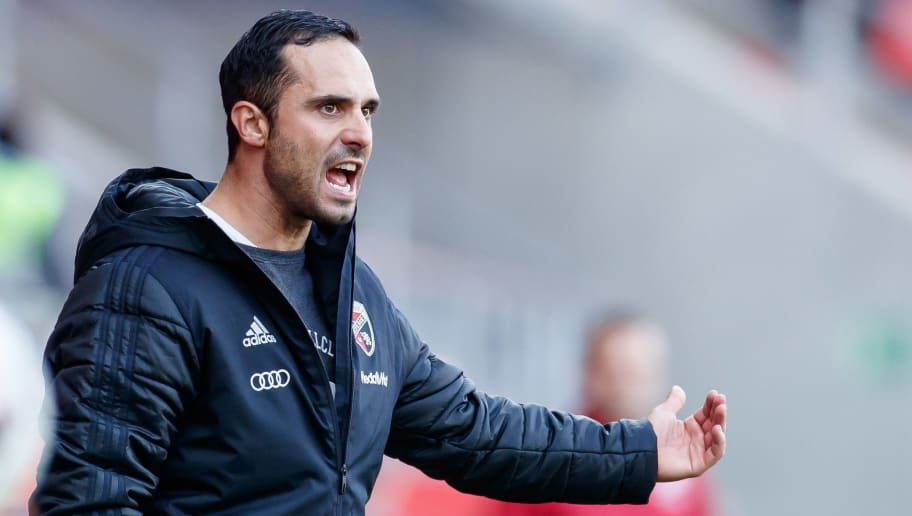 INGOLSTADT, GERMANY - NOVEMBER 11: head coach Alexander Nouri of FC Ingolstadt gestures during the Second Bundesliga match between FC Ingolstadt 04 and DSC Arminia Bielefeld at Audi Sportpark on November 11, 2018 in Ingolstadt, Germany. (Photo by TF-Images/Getty Images)
