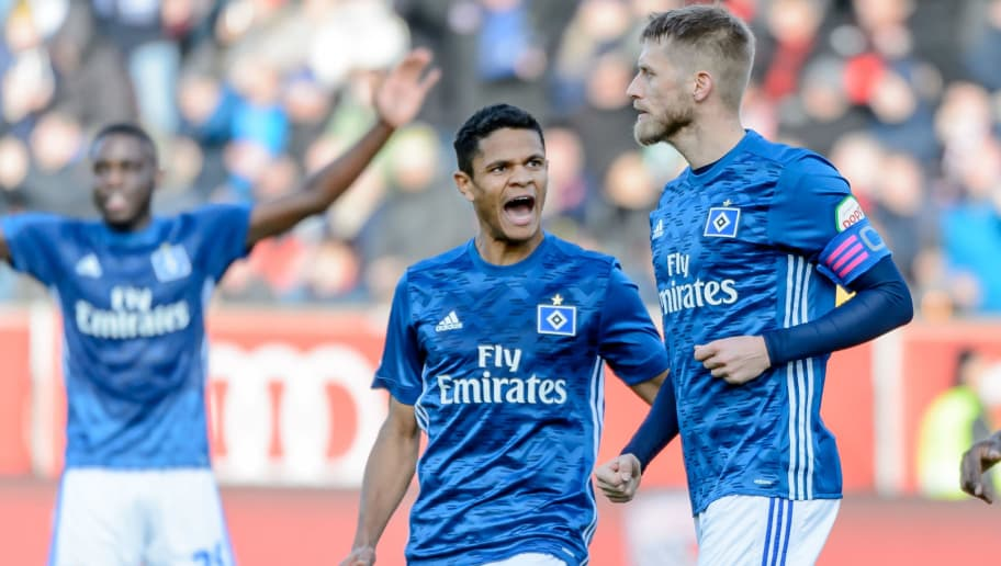 INGOLSTADT, GERMANY - DECEMBER 01: Aaron Hunt of Hamburg celebrates after scoring his team's first goal with team mates during the Second Bundesliga match between FC Ingolstadt 04 and Hamburger SV at Audi Sportpark on December 1, 2018 in Ingolstadt, Germany. (Photo by TF-Images/TF-Images via Getty Images)