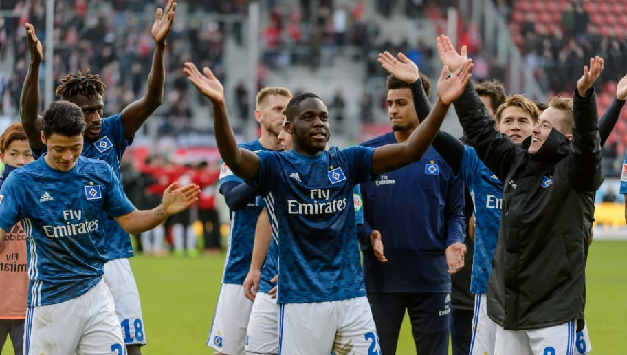 INGOLSTADT, GERMANY - DECEMBER 01: Players of Hamburg celebrates after winning the Second Bundesliga match between FC Ingolstadt 04 and Hamburger SV at Audi Sportpark on December 1, 2018 in Ingolstadt, Germany. (Photo by TF-Images/TF-Images via Getty Images)