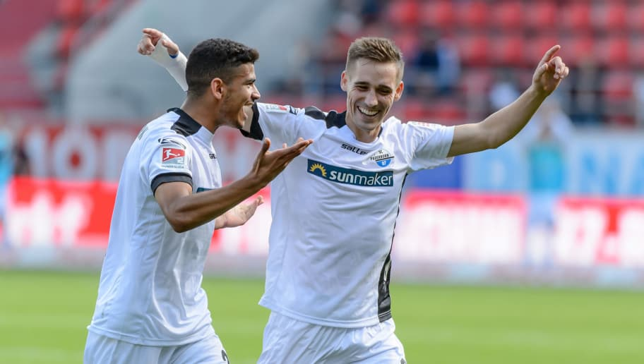 INGOLSTADT, GERMANY - OCTOBER 07: Philipp Klement of SC Paderborn celebrates after scoring his team`s second goal during the Second Bundesliga match between FC Ingolstadt 04 and SC Paderborn 07 at Audi Sportpark on October 7, 2018 in Ingolstadt, Germany. (Photo by TF-Images/Getty Images)
