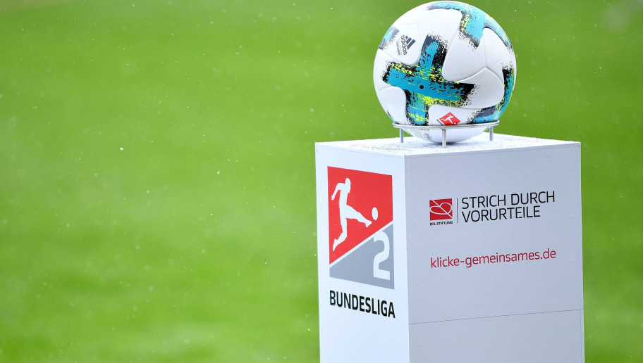 INGOLSTADT, GERMANY - MARCH 18: The Second Bundesliga logo is seen with the match ball and the campaign Strich durch Vorurteile during the Second Bundesliga match between FC Ingolstadt 04 and SG Dynamo Dresden at Audi Sportpark on March 18, 2018 in Ingolstadt, Germany. (Photo by Sebastian Widmann/Bongarts/Getty Images)