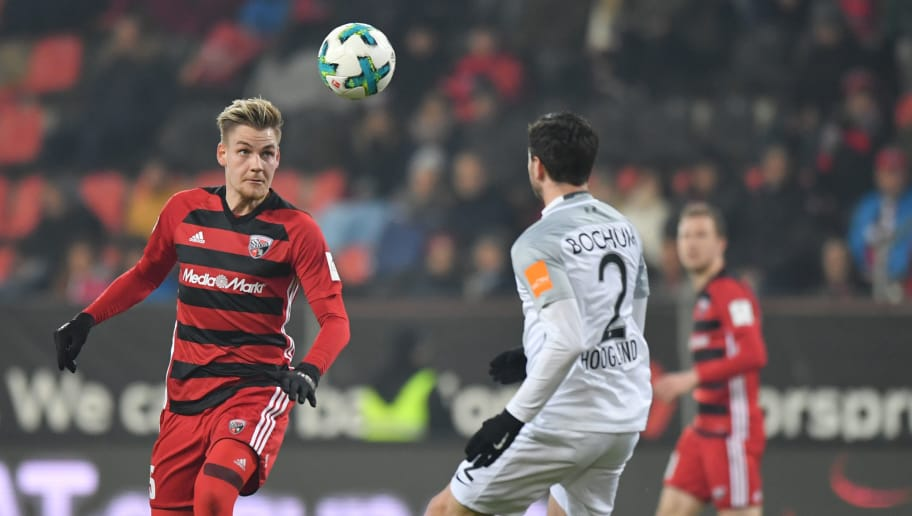 INGOLSTADT, GERMANY - MARCH 05: Max Christiansen of Ingolstadt plays the ball during the Second Bundesliga match between FC Ingolstadt 04 and VfL Bochum 1848 at Audi Sportpark on March 5, 2018 in Ingolstadt, Germany. (Photo by Sebastian Widmann/Bongarts/Getty Images)