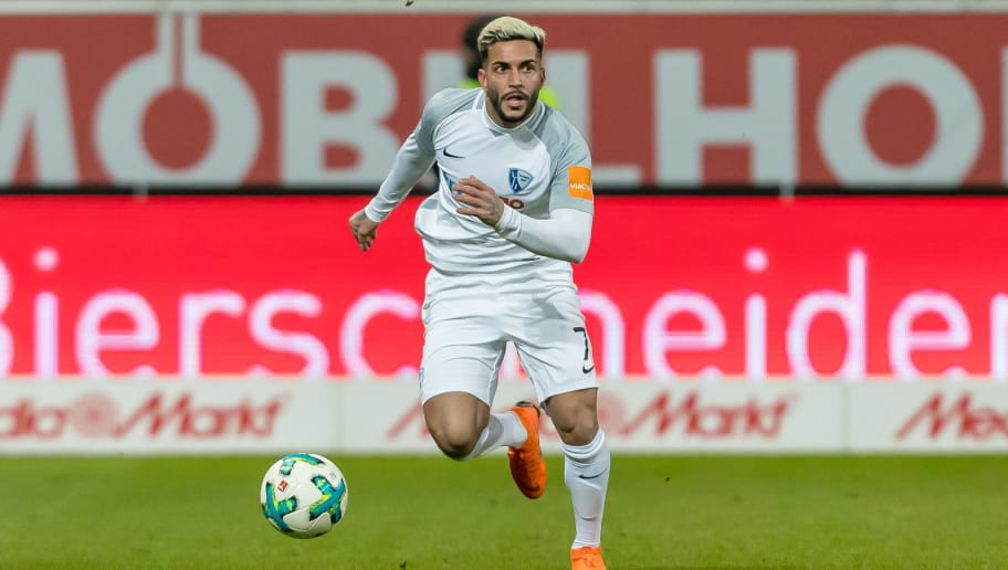 INGOLSTADT, GERMANY - MARCH 05: Selim Guenduez of Bochum controls the ball during the Second Bundesliga match between FC Ingolstadt 04 and VfL Bochum 1848 at Audi Sportpark on March 5, 2018 in Ingolstadt, Germany. (Photo by TF-Images/TF-Images via Getty Images)
