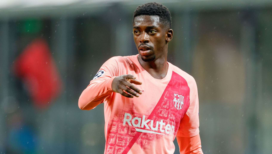 MILAN, ITALY - NOVEMBER 06: Ousmane Dembele of FC Barcelona gestures during the Group B match of the UEFA Champions League between FC Internazionale and FC Barcelona at San Siro Stadium on November 6, 2018 in Milan, Italy. (Photo by TF-Images/Getty Images)
