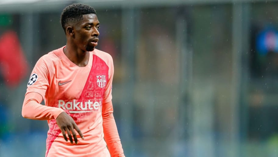 MILAN, ITALY - NOVEMBER 06: Ousmane Dembele of FC Barcelona looks on during the Group B match of the UEFA Champions League between FC Internazionale and FC Barcelona at San Siro Stadium on November 6, 2018 in Milan, Italy. (Photo by TF-Images/Getty Images)