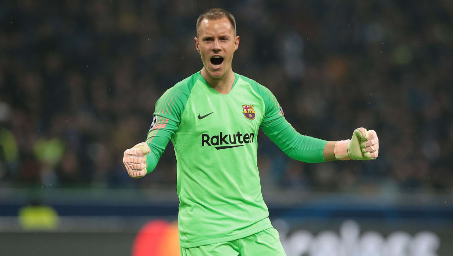 MILAN, ITALY - NOVEMBER 06:  Marc-Andre ter Stegen of FC Barcelona celebrates after his team-mate Malcom scored during the Group B match of the UEFA Champions League between FC Internazionale and FC Barcelona at San Siro Stadium on November 6, 2018 in Milan, Italy.  (Photo by Emilio Andreoli/Getty Images)