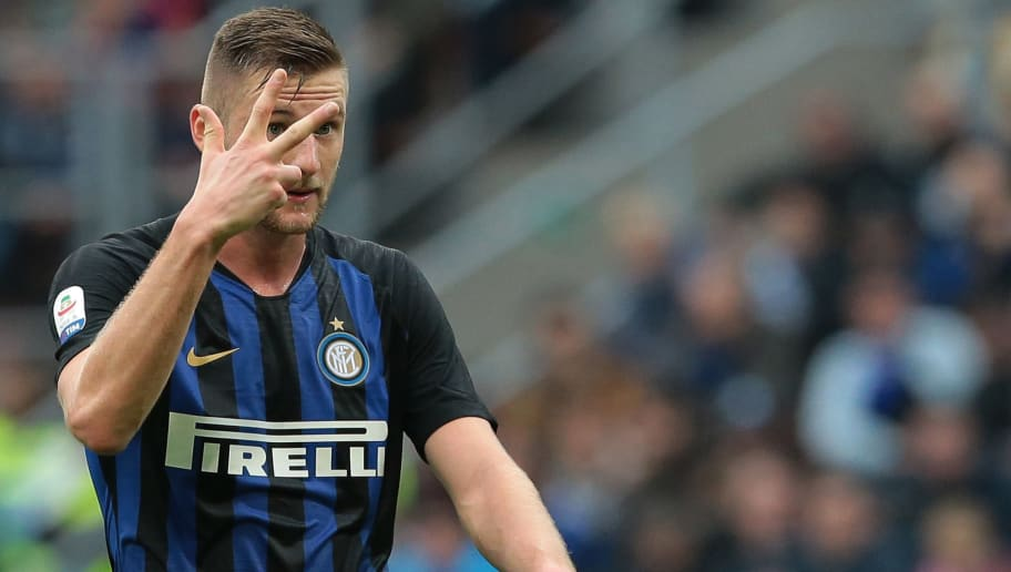 MILAN, ITALY - NOVEMBER 03:  Milan Skriniar of FC Internazionale gestures during the Serie A match between FC Internazionale and Genoa CFC at Stadio Giuseppe Meazza on November 3, 2018 in Milan, Italy.  (Photo by Emilio Andreoli/Getty Images)