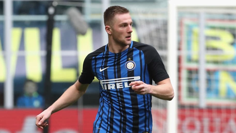 MILAN, ITALY - MARCH 31: Milan Skriniar of Inter  during the serie A match between FC Internazionale and Hellas Verona FC at Stadio Giuseppe Meazza on March 31, 2018 in Milan, Italy.  (Photo by Maurizio Lagana/Getty Images)