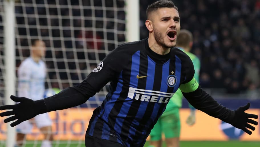 MILAN, ITALY - DECEMBER 11:  Mauro Emanuel Icardi of FC Internazionale celebrates his goal during the UEFA Champions League Group B match between FC Internazionale and PSV at San Siro Stadium on December 11, 2018 in Milan, Italy.  (Photo by Emilio Andreoli/Getty Images)