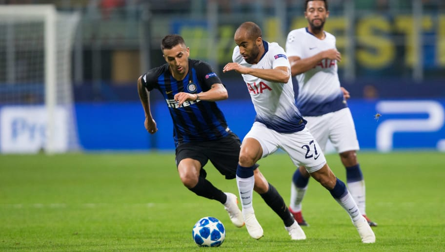 MILAN, ITALY - SEPTEMBER 18:  Lucas Moura of Tottenham Hotspur in action during the Group B match of the UEFA Champions League between FC Internazionale and Tottenham Hotspur at San Siro Stadium on September 18, 2018 in Milan, Italy. (Photo by Craig Mercer/MB Media/Getty Images)
