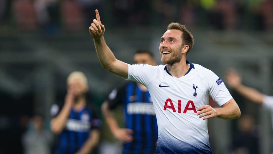 MILAN, ITALY - SEPTEMBER 18:  Christian Eriksen of Tottenham Hotspur celebrates scoring the opening goal during the Group B match of the UEFA Champions League between FC Internazionale and Tottenham Hotspur at San Siro Stadium on September 18, 2018 in Milan, Italy. (Photo by Craig Mercer/MB Media/Getty Images)