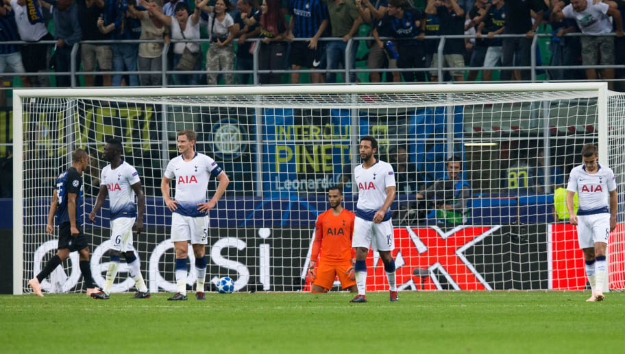 MILAN, ITALY - SEPTEMBER 18:  Tottenham Hotspur players look dejected after conceding their sides second goal during the Group B match of the UEFA Champions League between FC Internazionale and Tottenham Hotspur at San Siro Stadium on September 18, 2018 in Milan, Italy. (Photo by Craig Mercer/MB Media/Getty Images)