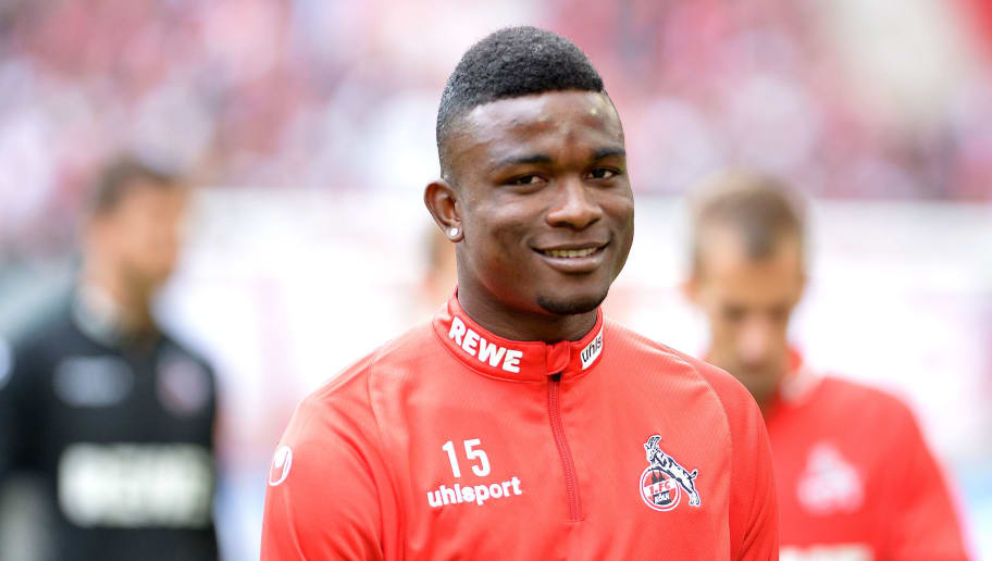COLOGNE, GERMANY - AUGUST 25: Jhon Cordoba of FC Koeln laughs during the second Bundesliga match between FC Koeln and FC Erzgebirge Aue at RheinEnergieStadion on August 25, 2018 in Cologne, Germany. (Photo by TF-Images/Getty Images)