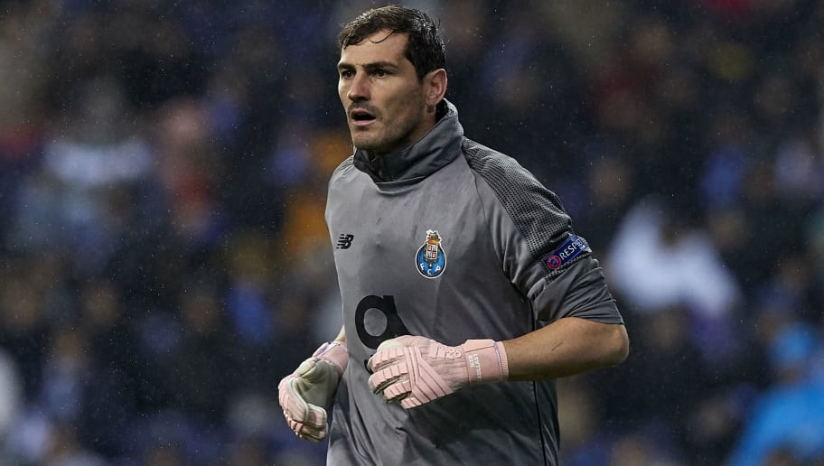 PORTO, PORTUGAL - NOVEMBER 06:  Iker Casillas of Porto looks on during the Group D match of the UEFA Champions League between FC Porto and FC Lokomotiv Moscow at Estadio do Dragao on November 6, 2018 in Porto, Portugal.  (Photo by Quality Sport Images/Getty Images)